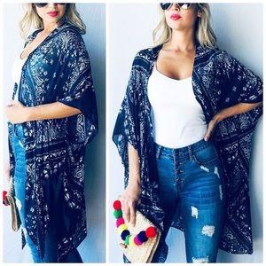 Sweaters - New Bandana Floral Printed Kimono Cardigan